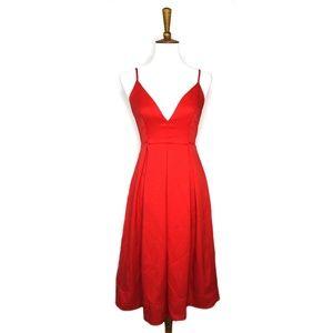 L'atiste red spaghetti strap midi v-neck dress, S